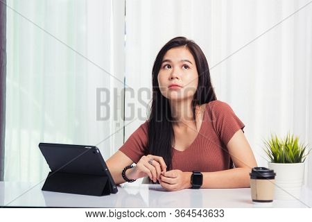 Work From Home, Asian Business Young Beautiful Woman Smiling Sitting On Desk Workspace Talking Commu