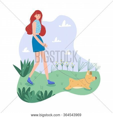 Reddish Girl In Blue Clothes Walks Outside With Her Sweet Dog. Light And Gentle Color Gamma. Complet