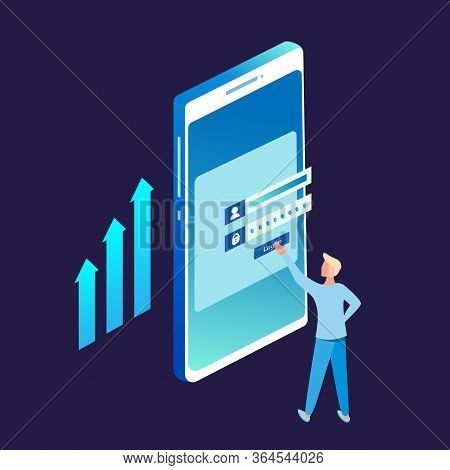 Registration Form Or Login User Interface. A Man Stands In Front Of Inputted Secured Data. A Big Mob