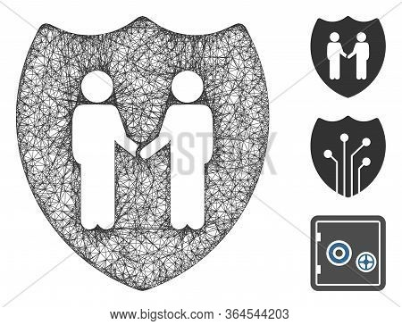 Mesh Trust Shield Polygonal Web Icon Vector Illustration. Model Is Created From Trust Shield Flat Ic