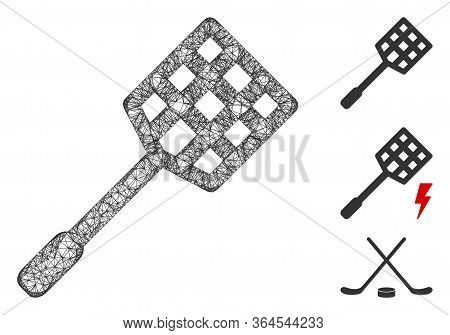 Mesh Racket Polygonal Web Icon Vector Illustration. Carcass Model Is Based On Racket Flat Icon. Tria