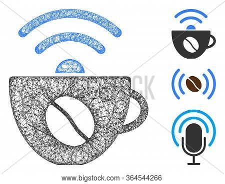 Mesh Coffee Wifi Source Polygonal Web 2d Vector Illustration. Carcass Model Is Based On Coffee Wifi