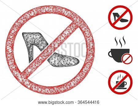 Mesh No Lady Shoe Polygonal Web Icon Vector Illustration. Carcass Model Is Based On No Lady Shoe Fla