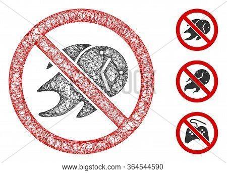 Mesh No Deadline Polygonal Web Icon Vector Illustration. Carcass Model Is Based On No Deadline Flat