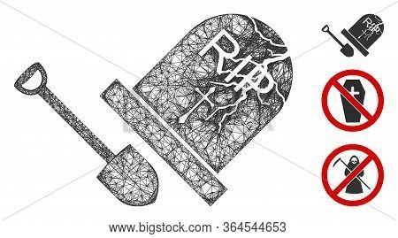 Mesh Grave Exhumation Polygonal Web Symbol Vector Illustration. Carcass Model Is Created From Grave