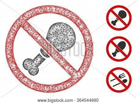 Mesh No Chicken Leg Polygonal Web Icon Vector Illustration. Abstraction Is Based On No Chicken Leg F