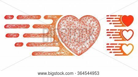 Mesh Express Love Heart Polygonal Web Icon Vector Illustration. Carcass Model Is Created From Expres