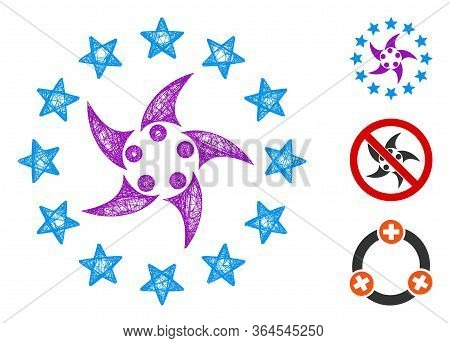 Mesh Europeans Collaboration Polygonal Web Icon Vector Illustration. Model Is Based On Europeans Col