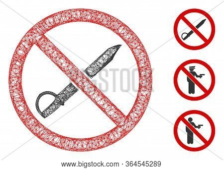 Mesh No Cold Weapon Polygonal Web Icon Vector Illustration. Carcass Model Is Created From No Cold We