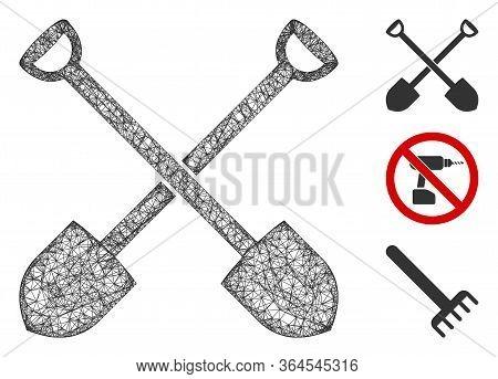 Mesh Shovels Polygonal Web Icon Vector Illustration. Carcass Model Is Based On Shovels Flat Icon. Tr