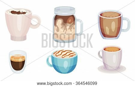 Coffee Beverage Or Cacao Drinks With Whipped Cream Poured In Glasses And Cups Vector Set
