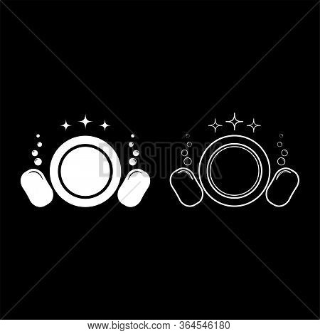 Dishwashing Concept Clearing Dishes Plate Washcloth Sponge Bubbles Clean Kitchen Idea Icon Outline S