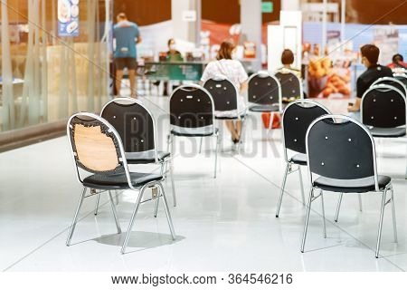 Many Chairs For Customers To Order Food And Wait To Take Home Inside Of Department Store Closed Due