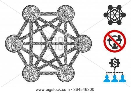 Mesh Network Relations Polygonal Web Icon Vector Illustration. Model Is Based On Network Relations F