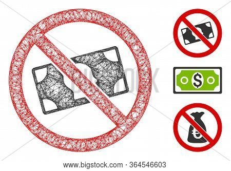 Mesh No Banknotes Polygonal Web Icon Vector Illustration. Model Is Based On No Banknotes Flat Icon.