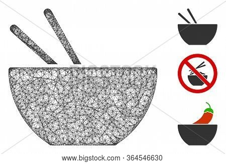 Mesh Asian Food Polygonal Web Icon Vector Illustration. Carcass Model Is Based On Asian Food Flat Ic