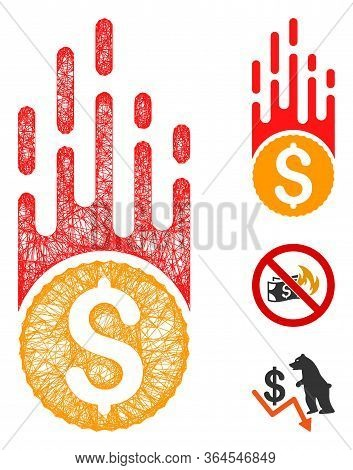 Mesh Rush Falling Dollar Polygonal Web Icon Vector Illustration. Carcass Model Is Created From Rush