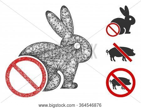 Mesh No Rabbit Meat Polygonal Web Icon Vector Illustration. Carcass Model Is Created From No Rabbit