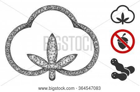 Mesh Cotton Polygonal Web Icon Vector Illustration. Carcass Model Is Based On Cotton Flat Icon. Tria
