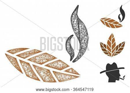 Mesh Smoking Tobacco Leaf Polygonal Web Symbol Vector Illustration. Model Is Based On Smoking Tobacc