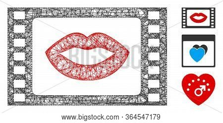 Mesh Love Story Movie Polygonal Web 2d Vector Illustration. Carcass Model Is Based On Love Story Mov