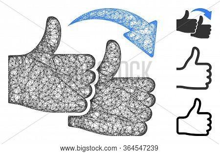 Mesh Like For Like Polygonal Web Icon Vector Illustration. Carcass Model Is Based On Like For Like F