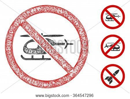 Mesh No Helicopter Polygonal Web Icon Vector Illustration. Carcass Model Is Based On No Helicopter F