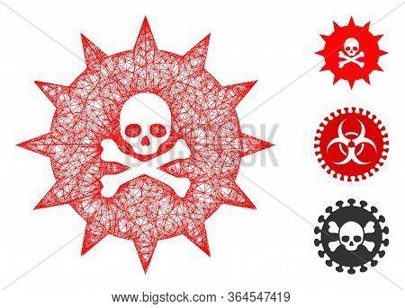 Mesh Viral Toxin Polygonal Web 2d Vector Illustration. Model Is Based On Viral Toxin Flat Icon. Tria