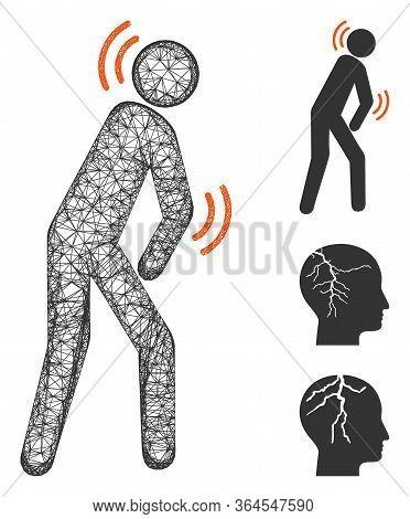 Mesh Parkinson Disease Polygonal Web Icon Vector Illustration. Abstraction Is Based On Parkinson Dis
