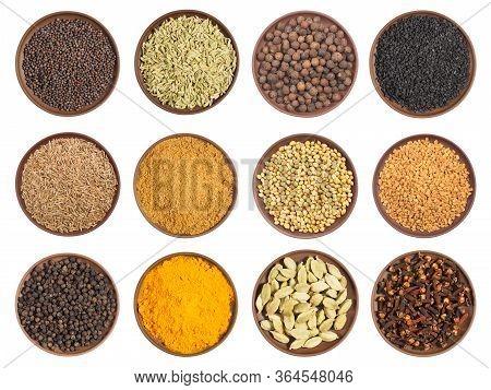 Set Of Spice In Clay Plates: Cloves, Black Pepper, Allspice, Fenugreek, Mustard Seeds, Cumin (jeera)