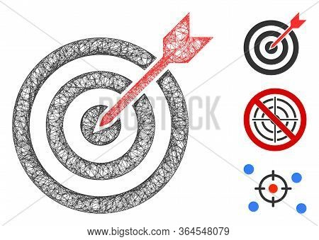Mesh Goal Polygonal Web Icon Vector Illustration. Carcass Model Is Based On Goal Flat Icon. Triangle