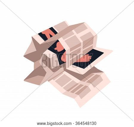 Crumpled Newspaper Pages Isolated On White Background. Creased Magazine Sheets With Images. Wrinkled