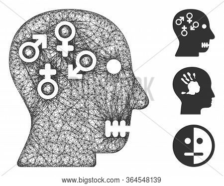 Mesh Psychosexual Disorder Polygonal Web Symbol Vector Illustration. Model Is Based On Psychosexual