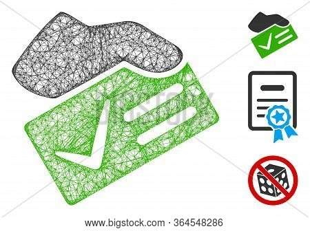 Mesh Vote Yes Polygonal Web Icon Vector Illustration. Model Is Based On Vote Yes Flat Icon. Triangul