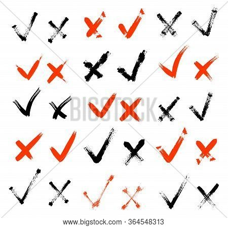 Hand Drawn Check Signs. Confirm Or Tick Icons Set Vector Design. Acceptance And Rejection Symbol Vec