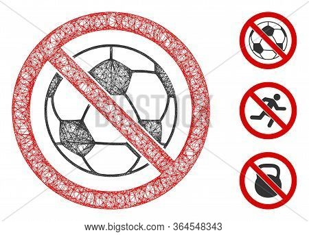 Mesh No Football Polygonal Web Icon Vector Illustration. Carcass Model Is Based On No Football Flat