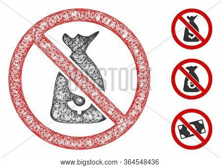 Mesh No Funds Polygonal Web Icon Vector Illustration. Carcass Model Is Created From No Funds Flat Ic