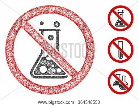 Mesh No Chemical Reaction Polygonal Web Icon Vector Illustration. Carcass Model Is Created From No C