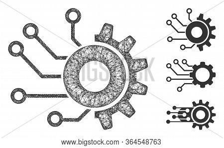 Mesh Digital Mechanics Polygonal Web Icon Vector Illustration. Model Is Created From Digital Mechani