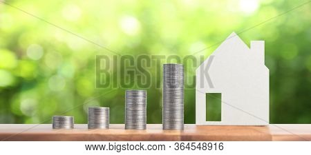 Property Investment And House Mortgage Financial Conceptmoney Coin Stack. Business Home