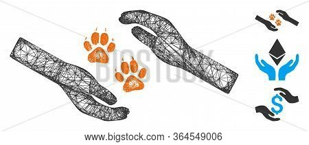 Mesh Tiger Care Hands Polygonal Web Icon Vector Illustration. Model Is Based On Tiger Care Hands Fla