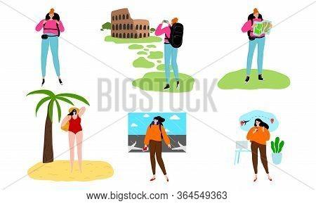 Set Of People Enjoying Travelling And Exploring World Vector Illustration