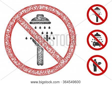 Mesh No Man Shower Polygonal Web Icon Vector Illustration. Carcass Model Is Based On No Man Shower F