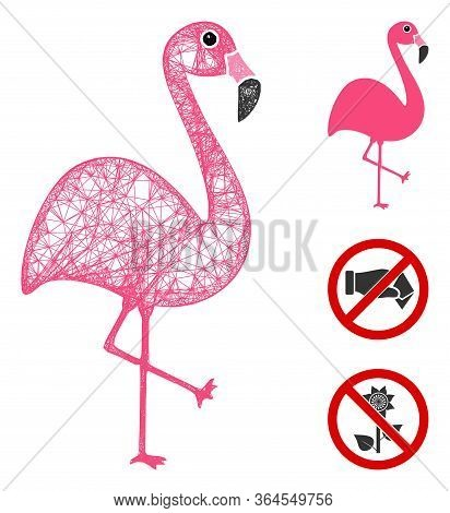 Mesh Flamingo Polygonal Web Icon Vector Illustration. Carcass Model Is Based On Flamingo Flat Icon.