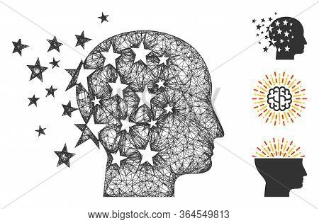 Mesh Star Mind Polygonal Web Icon Vector Illustration. Abstraction Is Based On Star Mind Flat Icon.