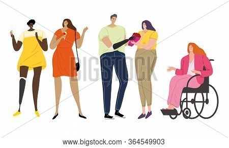 Handicapped Or Disabled Young People Enjoying Life Vector Illustration