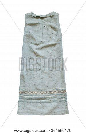 Linen Sleeveless Ethnic Sundress On White Background