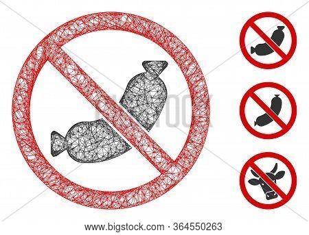 Mesh No Sausage Polygonal Web Icon Vector Illustration. Carcass Model Is Based On No Sausage Flat Ic