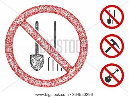 Mesh No Dig Polygonal Web Icon Vector Illustration. Model Is Based On No Dig Flat Icon. Triangle Net