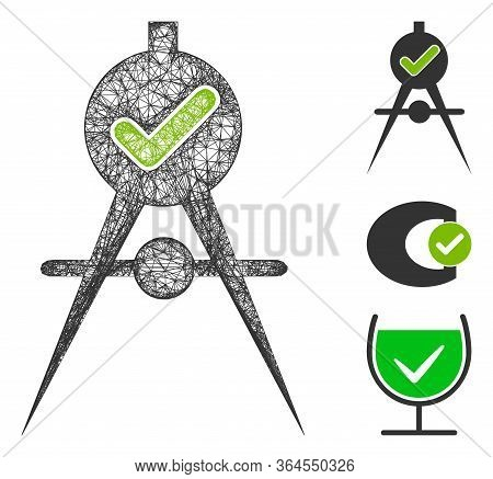 Mesh Quality Confirmation Polygonal Web Icon Vector Illustration. Model Is Based On Quality Confirma